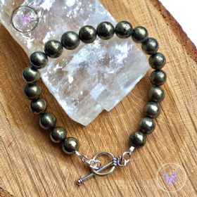 Pyrite Healing Bracelet With Silver Toggle Clasp